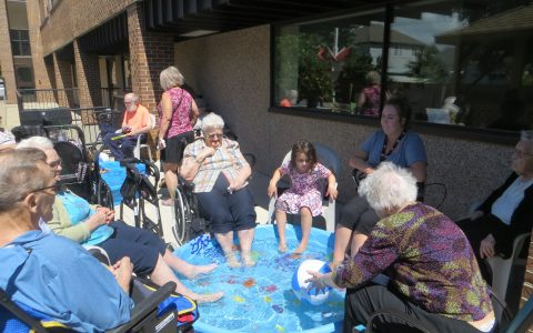 Residents getting their feet wet in a pool
